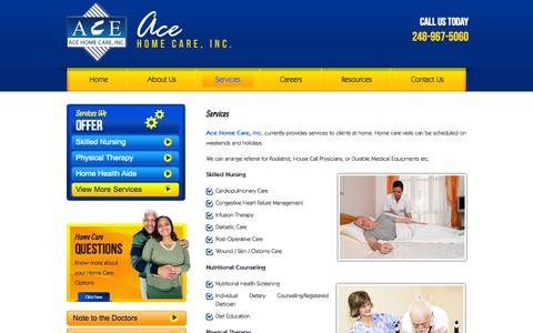 Screenshot of Services Page acehomecareinc.com - AceHomeCare,Inc. – CHAP Accredited Home Health Agency – Oak Park, Michigan - Services - captured Nov. 2, 2014