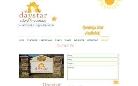 Screenshot of Contact Page daystarkids.org - Daystar Kids - Where Love Shines | CONTACT - captured Oct. 12, 2017