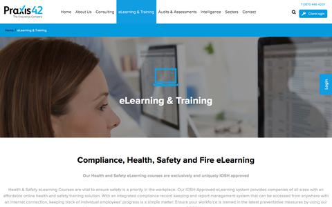 Screenshot of Trial Page praxis42.com - Health and Safety eLearning Courses   Praxis42 - captured July 20, 2018