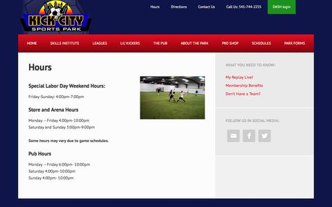 Screenshot of Hours Page kickcity.com - Hours - Kick City Sports Park - captured Oct. 17, 2017