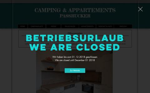 Screenshot of Home Page camping-passrucker.at - Camping & Appartements Passrucker - captured Dec. 2, 2018