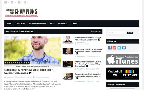 Screenshot of Home Page chattingwithchampions.com - Chatting With Champions | Interviews With Successful Entrepreneurs - captured Sept. 19, 2014