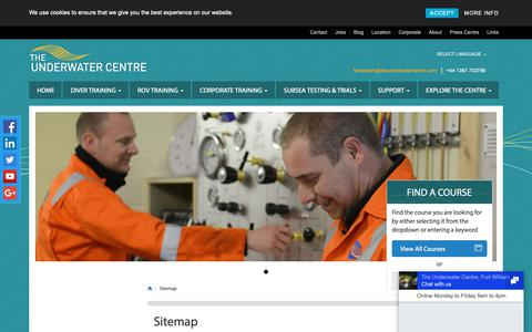 Screenshot of Site Map Page theunderwatercentre.com - Sitemap, The Underwater Centre Fort William - captured Sept. 30, 2018
