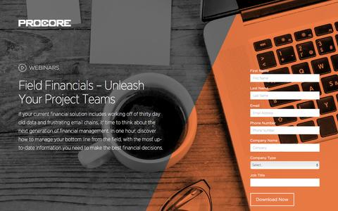 Screenshot of Landing Page procore.com - Field Financials – Unleash Your Project Teams - captured May 26, 2016