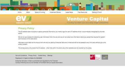 Screenshot of Privacy Page evgroup.uk.com - Privacy Policy - Enterprise Ventures - captured Oct. 1, 2014