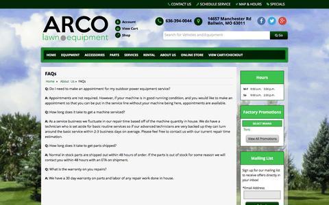 Screenshot of FAQ Page arcolawn.com - FAQs ARCO Lawn Equipment Ballwin, MO 636-394-0044 - captured Feb. 6, 2016