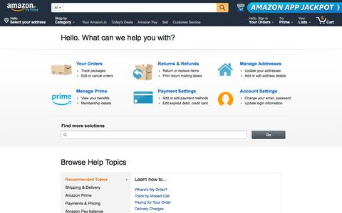 Screenshot of Support Page amazon.in - Amazon.in Help - captured Aug. 4, 2018