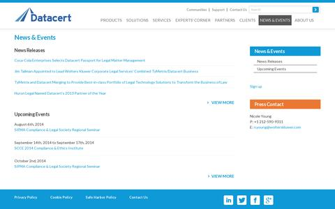 Screenshot of Press Page datacert.com - Datacert news and events – latest news releases, upcoming event info, and media coverage - captured July 20, 2014