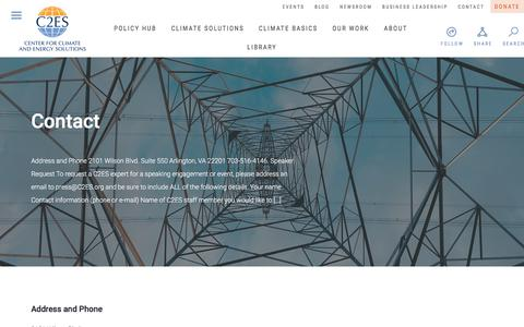 Screenshot of Contact Page c2es.org - Contact — Center for Climate and Energy Solutions - captured Nov. 3, 2017