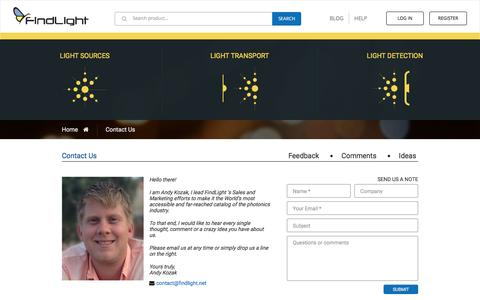 Screenshot of Contact Page findlight.net - Contact Us - captured Aug. 3, 2016