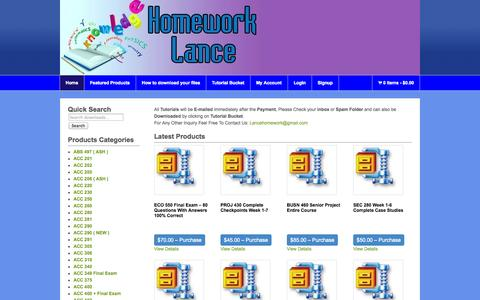 Screenshot of Home Page homeworklance.com - Home « Homework Lance Online Homework Help Homework Lance Online Homework Help - captured Sept. 30, 2014