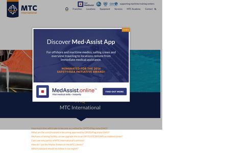 Screenshot of FAQ Page mtc-int.net - OPITO accreditation support - MTC International - captured Nov. 18, 2016