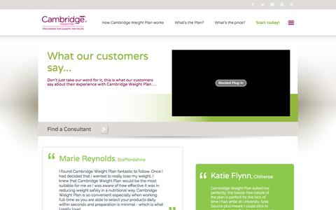 Screenshot of Testimonials Page cambridgeweightplan.com - Cambridge Weight Plan - What our customers say - captured Jan. 24, 2016