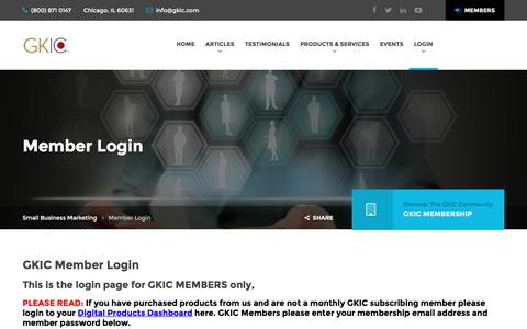 Screenshot of Login Page gkic.com - Member Login – Small Business Marketing - captured Feb. 1, 2017