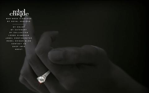 Screenshot of Home Page rebelchiquediamonds.com - Rebel Chique Diamonds: man-made/lab grown diamonds by Royal Asscher: fashion jewelry and engagement rings - captured Sept. 30, 2014