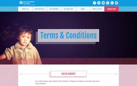 Screenshot of Terms Page soschildrensvillages.org.uk - Terms and Conditions - SOS Children's Villages United Kingdom - captured Nov. 18, 2016