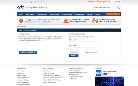 Screenshot of Login Page qdp.com - Customer Login  - qdp.com - captured Nov. 2, 2014