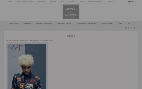 Screenshot of Press Page orwellausten.com - ORWELL + AUSTEN | Press - captured Oct. 7, 2014