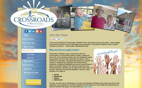 Screenshot of Jobs Page explorecrossroads.com - Careers: Disability Provider: Crossroads of Western Iowa - captured Feb. 1, 2016