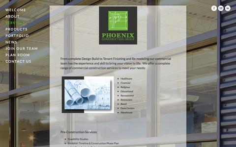 Screenshot of Services Page phxcgi.com - SERVICES — Phoenix Construction Group, Inc. - captured Oct. 2, 2014