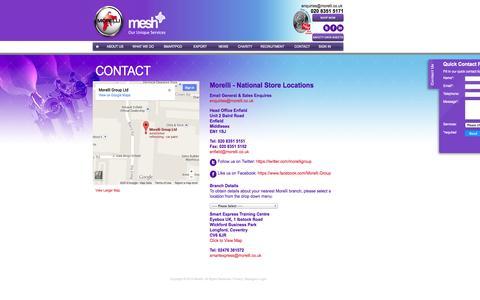Screenshot of Contact Page morelli.co.uk - Morelli Mesh | Contact - captured Oct. 26, 2014