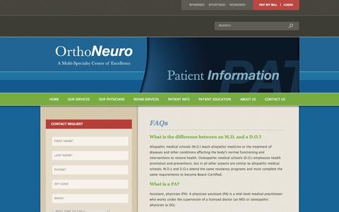 Screenshot of FAQ Page orthoneuro.com - FAQs   OrthoNeuro - captured Sept. 30, 2014