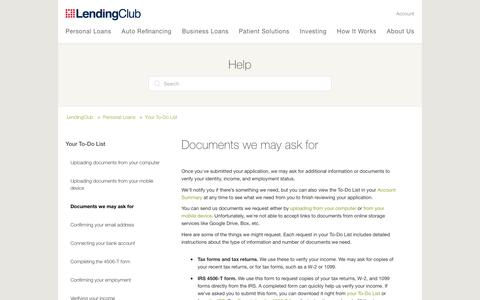 Screenshot of Support Page lendingclub.com - Documents we may ask for – LendingClub - captured June 27, 2018