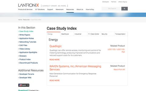Screenshot of Case Studies Page lantronix.com - Case Study Index | Lantronix - captured May 9, 2017