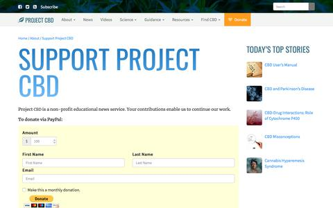 Screenshot of Support Page projectcbd.org - Donate to Project CBD - captured July 21, 2018