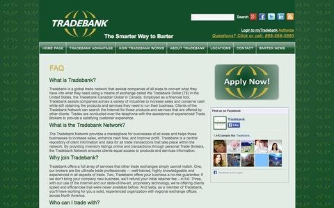 Screenshot of FAQ Page tradebank.com - FAQ   Tradebank International - captured Sept. 19, 2014