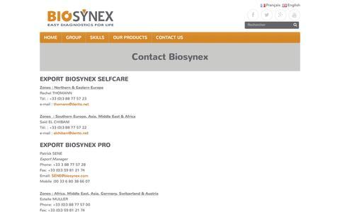 Screenshot of Contact Page biosynex.com - Contact Biosynex – Biosynex Group - captured Nov. 21, 2016