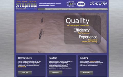 Screenshot of Home Page radonsolution.com - Stanton Engineering Solutions, Inc. - Your Radon Solution - captured Oct. 27, 2017