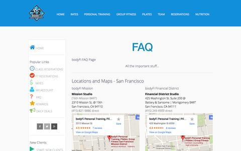 Screenshot of FAQ Page Locations Page bodyfi.com - bodyFi FAQ - bodyFi Personal Training | Pilates | Group Fitness | San Francisco - captured Oct. 23, 2014