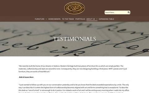 Screenshot of Testimonials Page westernheritagefurniture.com - Western Heritage Furniture -Testimonials - captured Nov. 7, 2017
