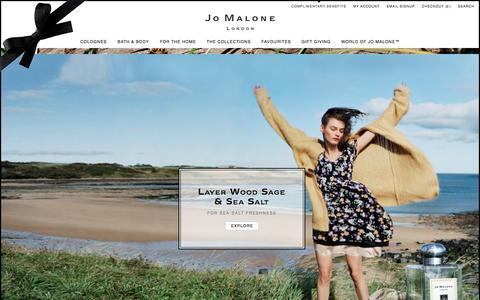 Screenshot of Home Page jomalone.com - Home | Jo Malone - captured Sept. 23, 2014