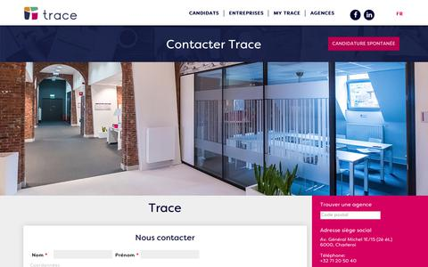 Screenshot of Contact Page tracegroup.be - Trace | Contacter Trace - captured Sept. 22, 2018