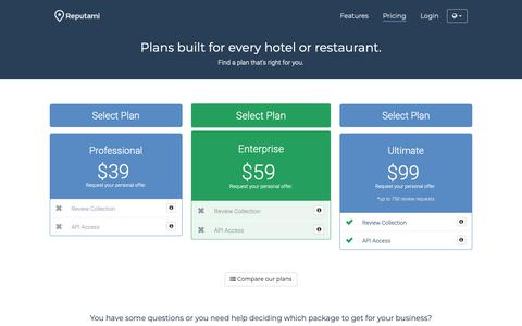 Screenshot of Pricing Page reputami.com - Reputami - Plans built for every hotel or restaurant. - captured Sept. 28, 2018