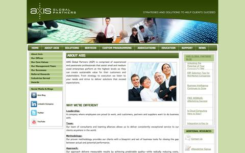 Screenshot of About Page axisgp.com - Our Company | Axis Global Partners - captured Oct. 4, 2014