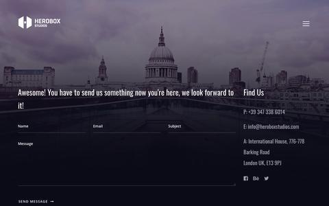 Screenshot of Contact Page heroboxstudios.com - Contact   Herobox Studios - captured Sept. 9, 2018