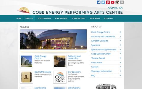 Screenshot of About Page cobbenergycentre.com - About Us - Cobb Energy Performing Arts Centre - Cobb Energy Performing Arts Centre - captured Oct. 2, 2014