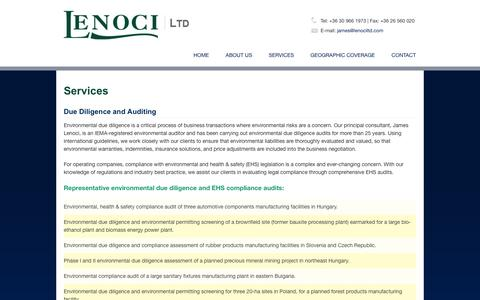 Screenshot of Services Page lenoci.hu - Services | LENOCI Environmental Consulting Ltd. - captured Oct. 1, 2014