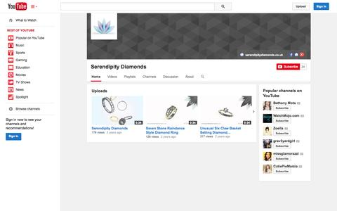 Screenshot of YouTube Page youtube.com - Serendipity Diamonds  - YouTube - captured Oct. 26, 2014