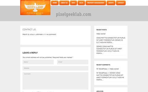 Screenshot of Contact Page hawkland.ae - Hawk Land  » Contact us - captured Oct. 27, 2014