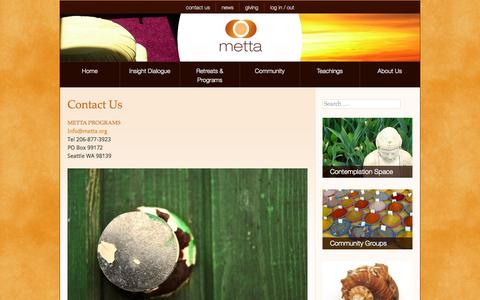 Screenshot of Contact Page metta.org - Metta Programs - Contact Us - captured Oct. 27, 2014