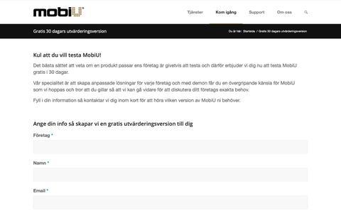 Screenshot of Trial Page mobiu.se - Gratis 30 dagars utvärderingsversion – MobiU - captured Nov. 17, 2018