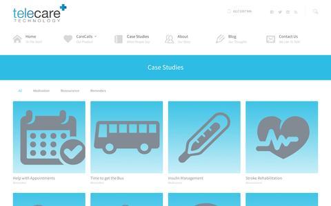 Screenshot of Case Studies Page telecaretechnology.com - Elderly Care - Assistive Technology | Telecare Technology - captured Oct. 22, 2014