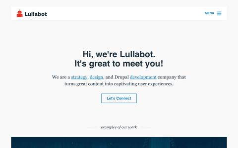 Screenshot of Home Page lullabot.com - Lullabot - captured Feb. 18, 2018