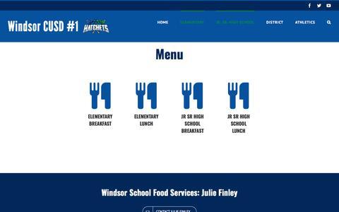 Screenshot of Menu Page windsor.k12.il.us - Menu - Windsor Community Unit School District #1 - captured Feb. 21, 2018