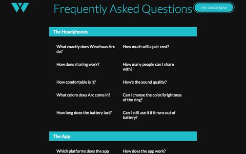 Screenshot of FAQ Page wearhaus.com captured Sept. 12, 2014