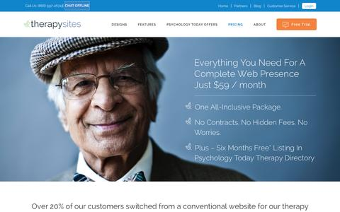 Screenshot of Pricing Page therapysites.com - TherapySites   –  Pricing - captured Jan. 27, 2016